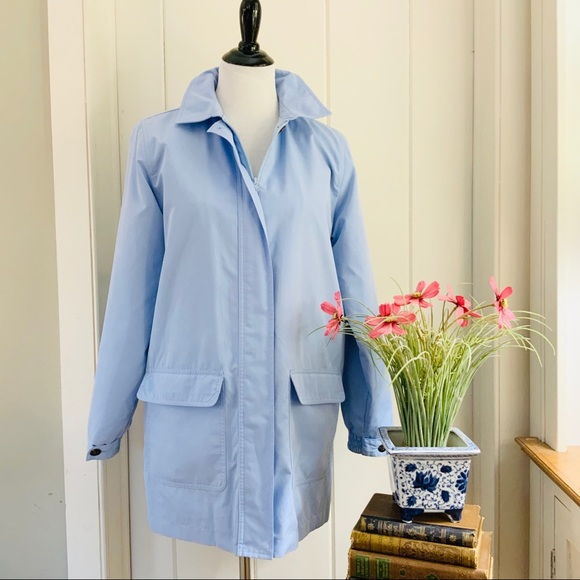 L.L. Bean Jackets & Blazers - LL BEAN Light Blue Zip Front Rain Coat